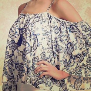 Forever21 Paisley Open-Shoulder, Bell-Sleeved Tank